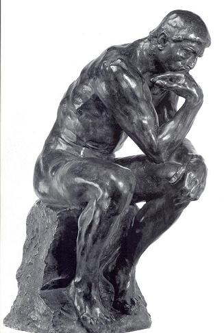 Rodin's 'The Thinker'. Probably in the throes of self-appraisal